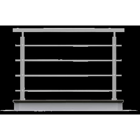 Nerezové hranaté zábradlí rovné 4x výplň, horní kotvení.