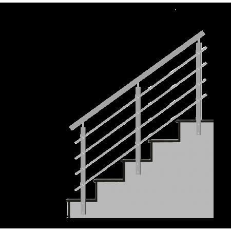 Nerezové hranaté zábradlí na schody 4x výplň, boční kotvení.