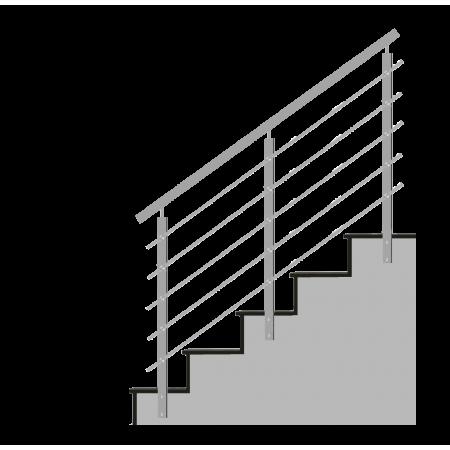 Nerezové hranaté zábradlí na schody 5x výplň, boční kotvení.