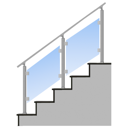 Nerezové skleněné hranaté zábradlí na schody horní kotvení. sklo 4.2.4