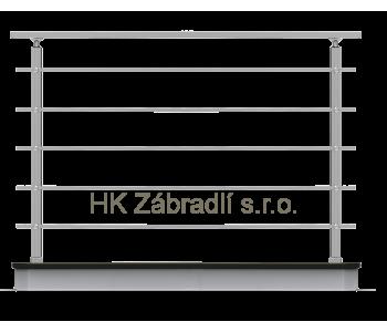 Hranaté zábradlí na terasu a balkón model HK5HR horní kotvení