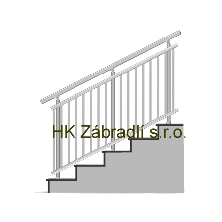 Kulaté zábradlí na schody BRONZ imitace nerez model A3HSB