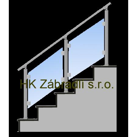 Hranaté skleněné Zábradlí Na schody Model S3HS