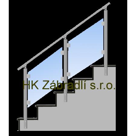 Hranaté Skleněné Zábradlí Na Schody Model S4BS