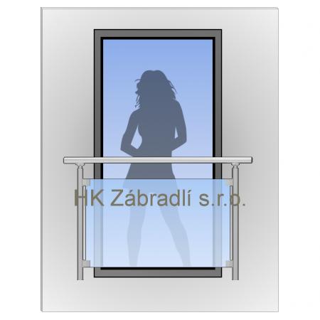 Zábradlí na francouzská okna BRONZ imitace nerez model H9B