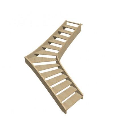 """Smrkové samonosné schodiště tvar """"L"""" model SCH1101"""
