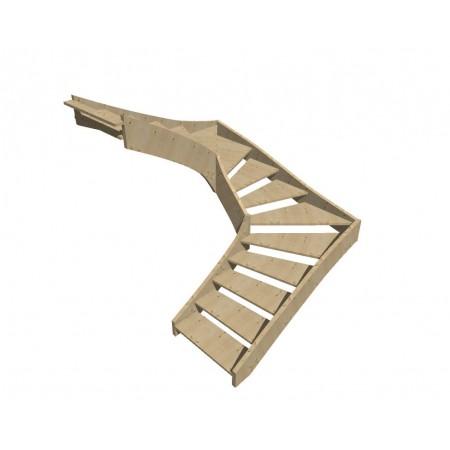 """Smrkové samonosné schodiště tvar """"U"""" model SCH3101"""