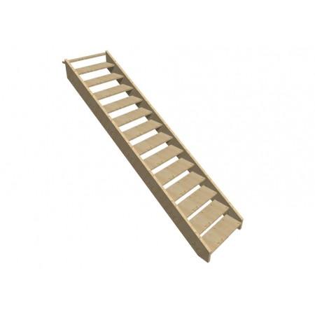 """Smrkové samonosné schodiště přímé"""" model SCH4101"""