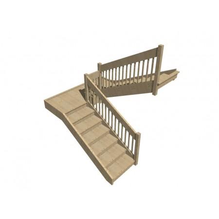 Smrkové samonosné schodiště dvouramenné model SCH5401