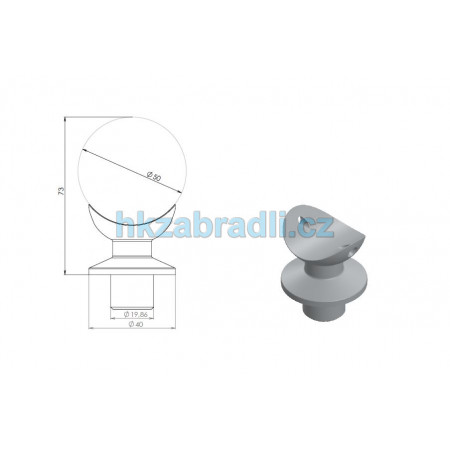 Hlavice pro spojení madla 50mm ze stojkou 40mm s kloboučkem